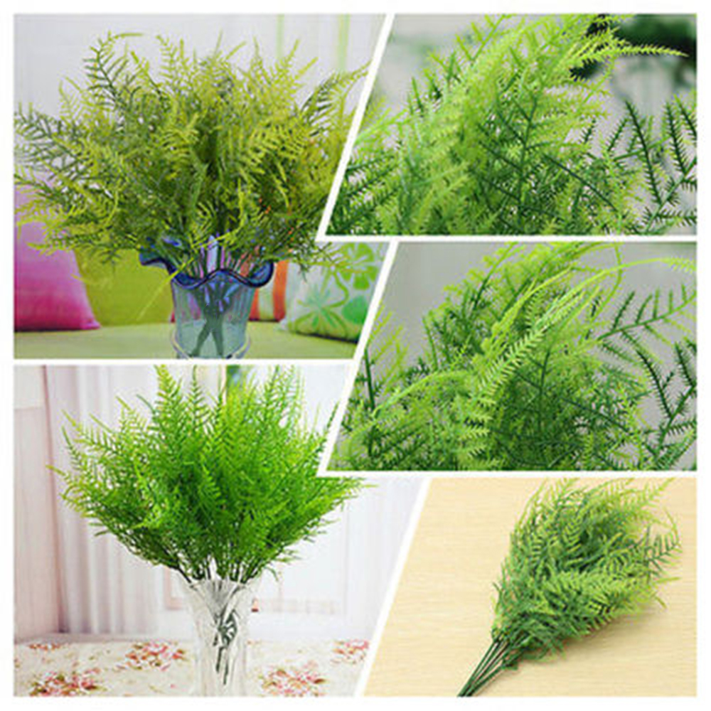 Plastic Green 7 Stems Artificial Asparagus Fern Bush Plants Home Cafe Office Dec