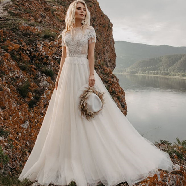 Back crochet Lace Wedding Dresses 2021 Lace Beach Boho R A Line Tulle Sweep Train Bridal Gowns Tulle Bohemian Wedding Gowns 1