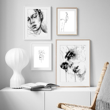 Abstract Black And white Girl Line Wall Art Print Canvas Painting  Nordic Posters And Prints Wall Pictures For Living Room цена и фото