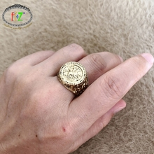 F.J4Z New Ethic Finger Rings for Women Vintage Anti-gold Alloy Coin Ring Textured Top Ladies Size8 Rings Jewelry Gifts dropship vintage rudder character unisex finger ring creative watches antique alloy rings hot gift for women men