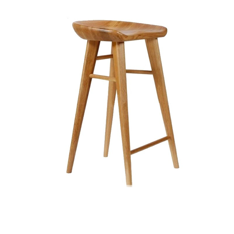 Solid Wood Bar Stool Home Dining Chair Nordic Log   Simple Leisure High  Front Desk  Study