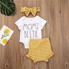 Newborn Baby Boy Girl Clothes Set Summer Letter Short Sleeve Romper Stripe Shorts Headband 3Pcs Outfit New Born Infant Clothing