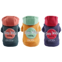 Pet Autumn And Winter Embroidered Hooded Coat Dog Cold-weather Button Warm Jacket