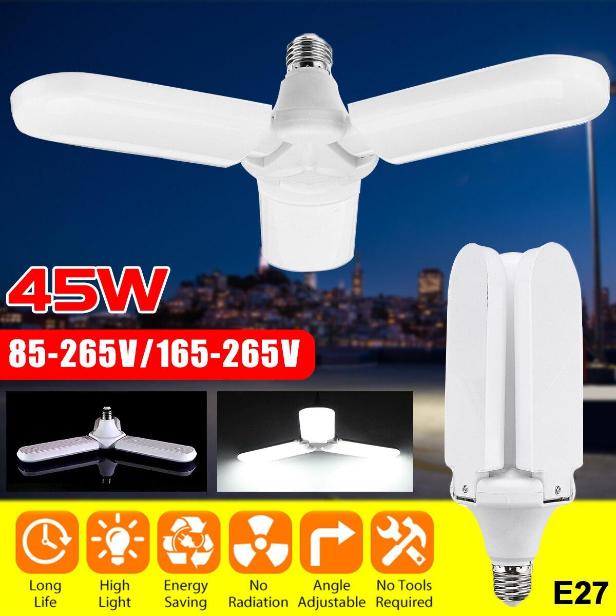Super Bright Led Garage Light 3 Leaf Deformable Industrial Lighting E27 45w 85-265v/165-265v 2835 Workshop Ceiling Lights