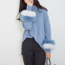 цены Pullover Women's Jumper Patchwork rabbit fur Sweater Female Jumper Women Loose Sweaters thick Winter Knitted Oversize Sweater