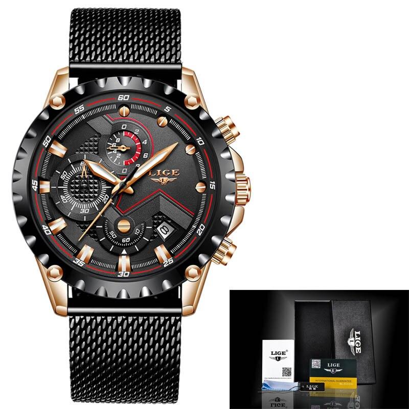 LIGE New Mens Watches Male Fashion Top Brand Luxury Stainless Steel Blue Quartz Watch Men Casual Sport Waterproof Watch Relogio