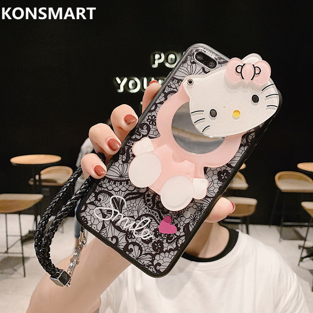For Huawei Y9 2019 Case Y9Prime 2019 Y7 2019 Cover Y6Pro 2019 Y7Pro 2019 Funda Y5 2019 3D Kitty Lace Mirror Case KONSMART-in Fitted Cases from Cellphones & Telecommunications