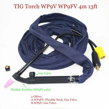 WP9FV TIG Torch 4m 13ft Gas Tungsten Arc Welding WP9 Argon Air Cooled Flexible Neck Valve