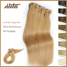 Clip In Hair Extensions Raw Virgin Straight Human Hair Double Weft Full Head Clip Ins Extensions  Natural Color  7pcs/Set