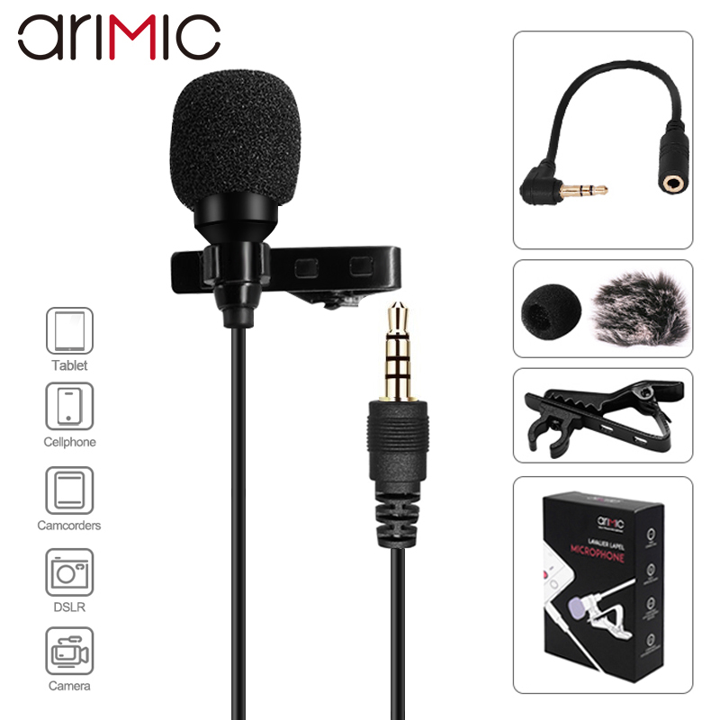 Ulanzi Arimic 1 5M 6M Clip-on Lavalier Lapel Microphone Condenser Mic TRRS Adapter Cable for iPhone Android Smartphone iPad DSLR