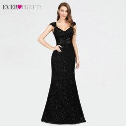 Элегантные кружевные вечерние платья, длинные красивые вечерние платья с двойным v-образным вырезом и бисером, черные вечерние платья Vestido ...