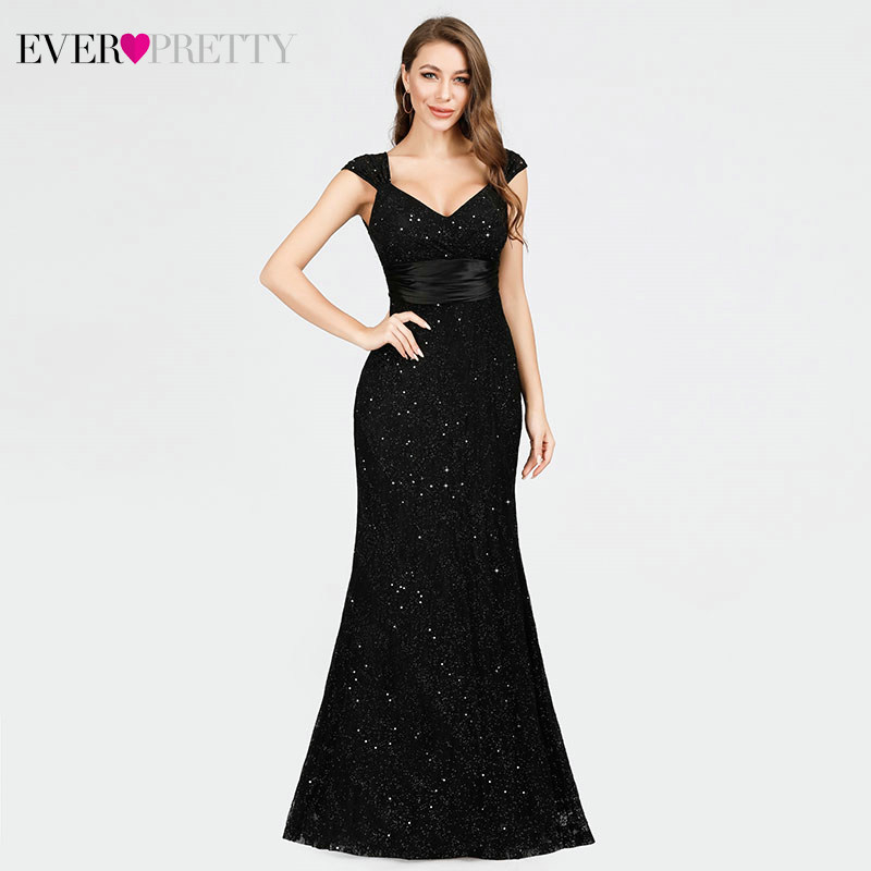 Elegant Lace Evening Dresses Long Ever Pretty Mermaid Double V-Neck Beaded Sparkle Black Party Gowns Vestido Sirena Largo 2020