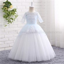 купить Princess Light Blue Floor Length Short Sleeve Flower Girl Dresses 2019 Girls Pageant Dress First Communion Dresses онлайн