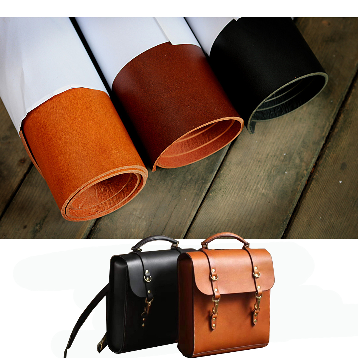 3.5-4.0mm First layer Buffalo cowhide oil wax skin vegetable tanned leather handmade leather Belt, women's bag, shoes DIY image
