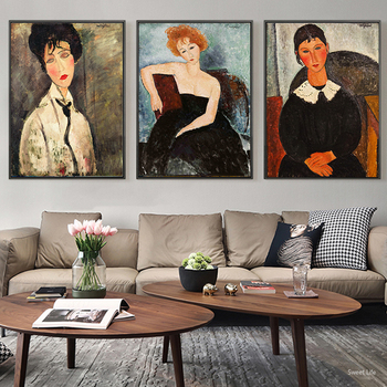 Classic Amedeo Modigliani Picasso Artwork Collection Abstract Canvas Print Painting Poster Wall Picture Modern Living Room Decor image