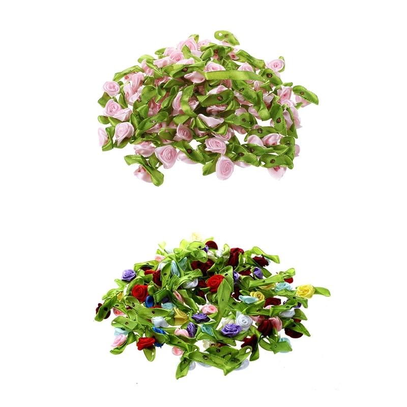 200Pcs Mini Satin Ribbon Rose Flower Leaf Wedding Decor Appliques Sewing DIY, 100Pcs Pink & 100Pcs Mix Color