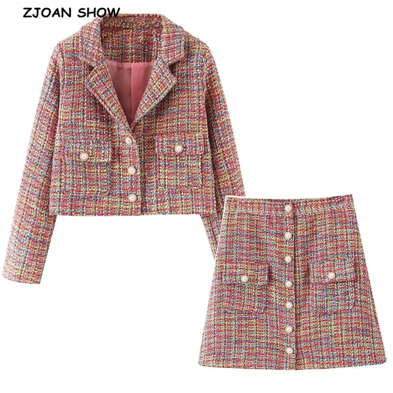 2019 Retro Women Pearl Button Mix Colored Woolen Plaid Blazer High Waist A Line Mini Short Skirts Long Sleeve Suits 2 Pieces Set