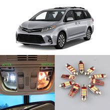 Branco carro erro livre lâmpadas led kit de luz interior para 1998-2014 2015 2016 2017 2018 2019 toyota sienna mapa dome lâmpada de licença