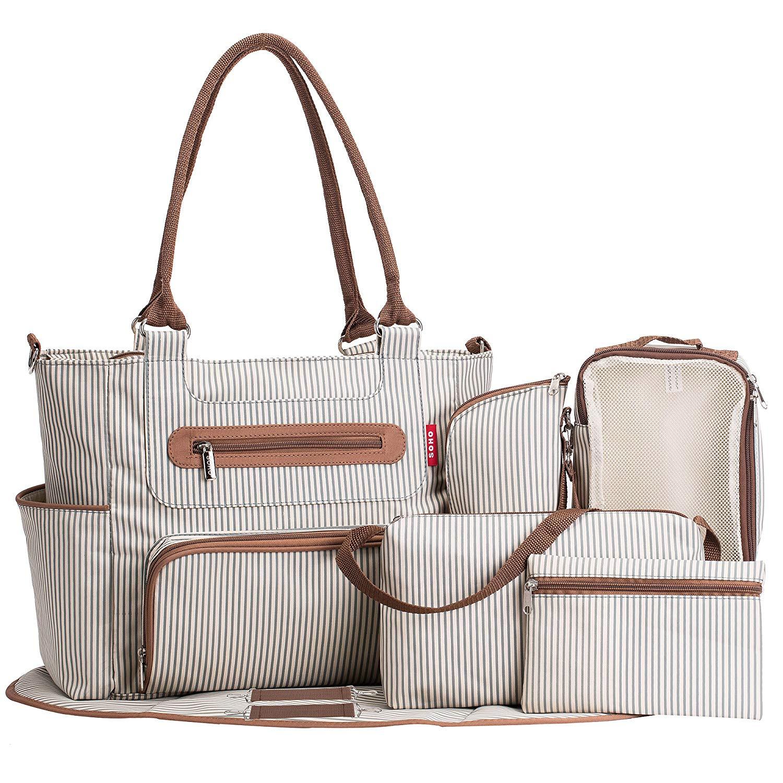 Saco de fraldas 7 peças conjunto fralda tote grande capacidade para o bebê mãe pai saco viagem com alças carrinho