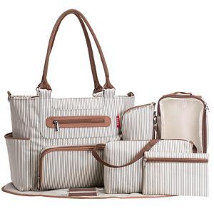 Image 1 - Torba na pieluchy 7 sztuk zestaw pieluszka tote torba o dużej pojemności do dziecko mama tata torba podróżna z wózek pasy