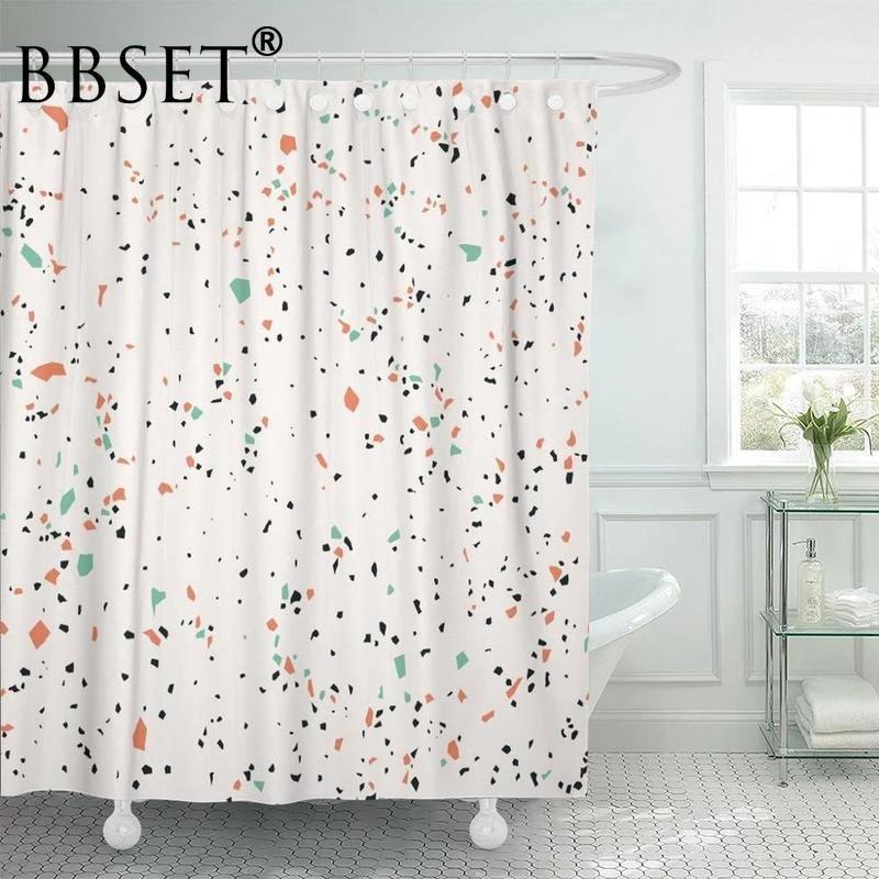 colorful stones shower curtain black stone terrazzo marble pattern waterproof multi size douchegordijn polyester bathroom decor