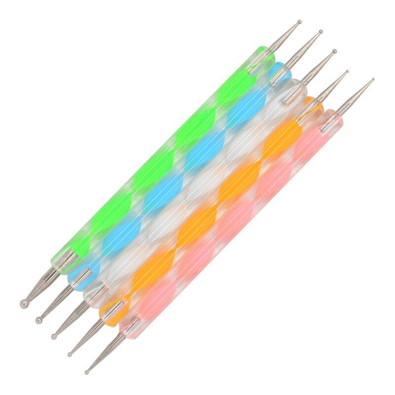 Canetas pontilhadoras da unha 5 peças, ferramentas de pontilhamento da unha, 2 formas, broca, ferramentas de pontos, esmalte de desenho