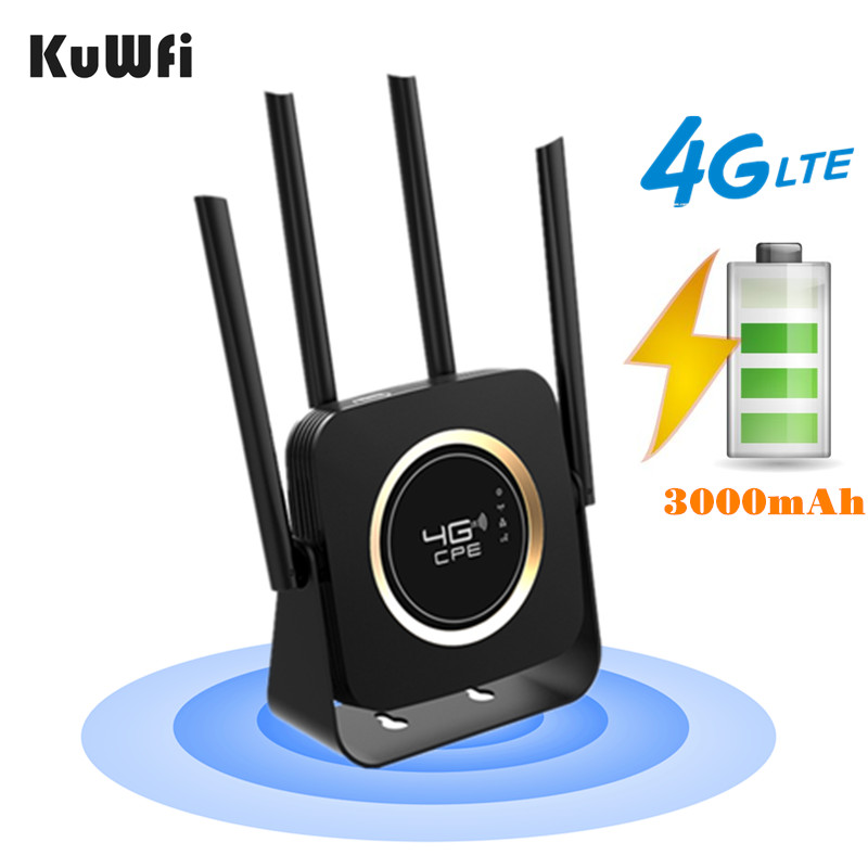 KuWFi 4G LTE Router Lan Port Wireless CPE 3000mAh Battery 4G LTE Modem 300Mbps Mobile Wifi Hotspot With SIM Card Slot