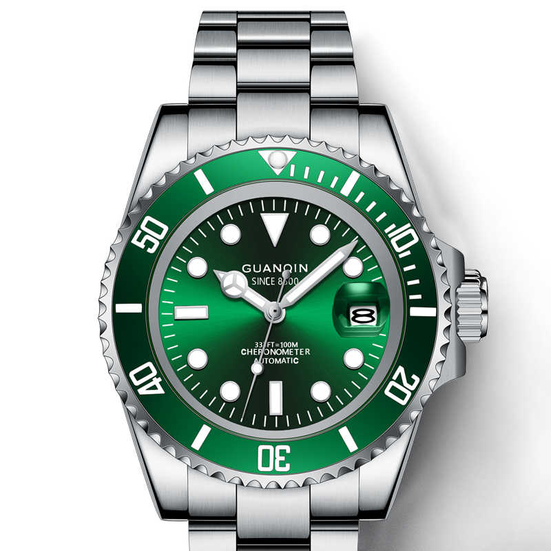 GUANQINนาฬิกาดำน้ำ10Bar Sapphire Mechanicalนาฬิกาผู้ชายกันน้ำญี่ปุ่นNH35Aการเคลื่อนไหวนาฬิกาส่องสว่าง
