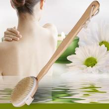 Natural Long Wood Wooden Body Brush Massager Bath Shower Bac