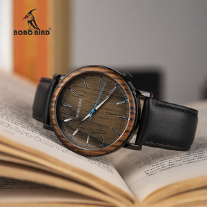 Image 2 - Mens Watches BOBO BIRD Quartz Wristwatch Man Male Metal leather Show date Promotion sale montre homme Christmas anniversary gif