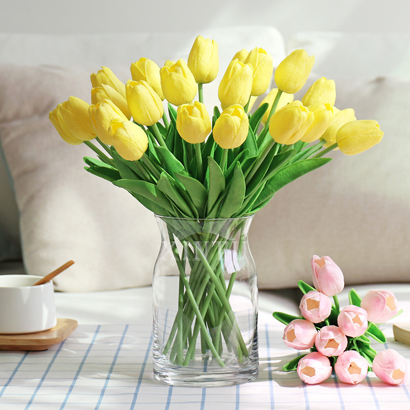 35pcs/Lot PU Tulip Artificial Flowers Real Touch Fake Flowers Wedding Bouquet For Party Home Festival Decoration