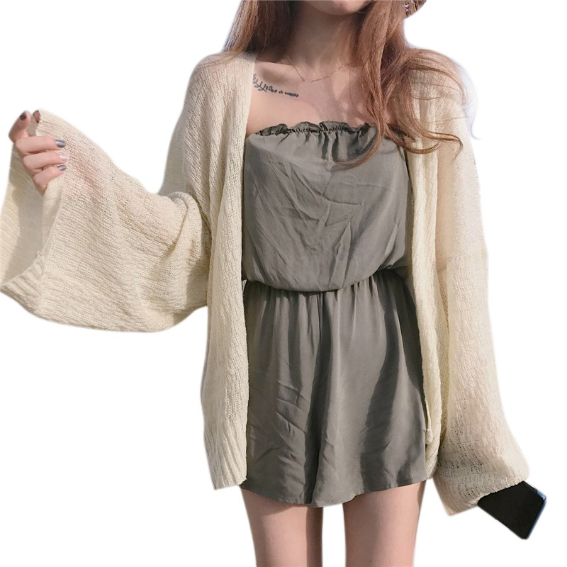 HOT Women Summer Cardigan Casual Knitted Cardigans Coat Sunscreen Women Beach Clothes Solid Female Tops