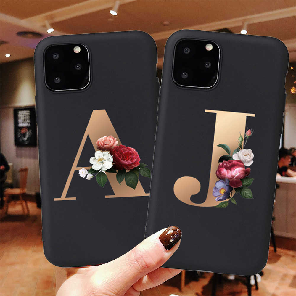 Custom name Flower Letter Monogram Black Soft Phone Case For iphone 11 Pro Max X XS XR 5 5s SE 6 6S 7 8 Plus Silicone Back Cover