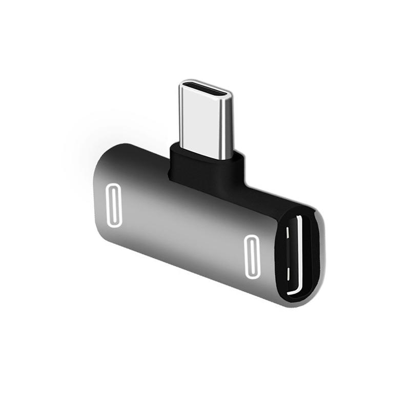 New Prouct Double Type C USB-C Earphone Headphone Audio Charging Adapter Splitter Convertor For Xiaomi Huawei Converter