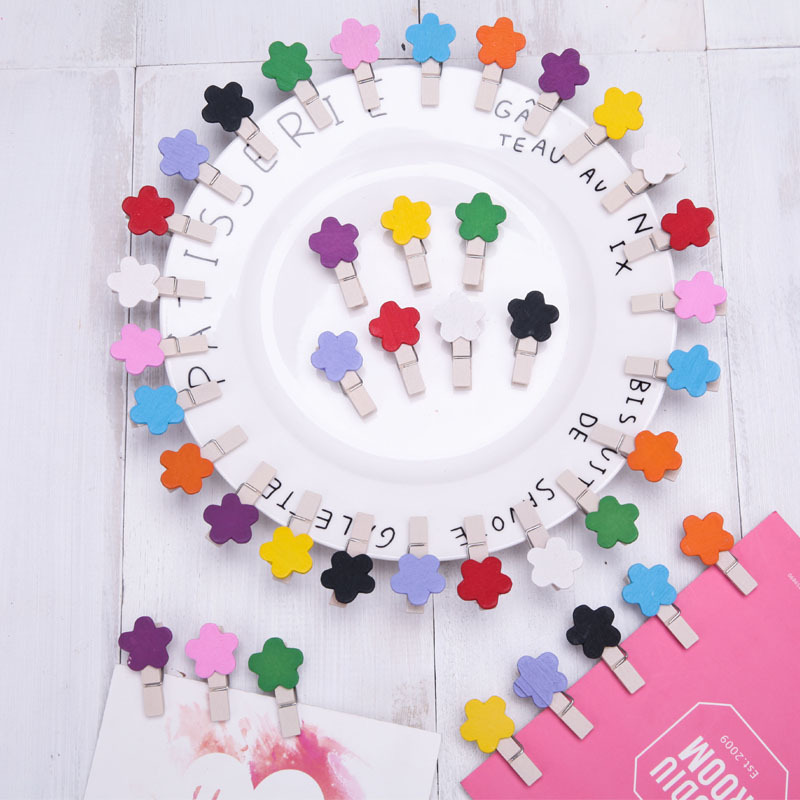 10 PCs Creative Cartoon 3.5 Cm Flower Color Wood Small Clip Decoration Notepad Snacks Picture Portfolio