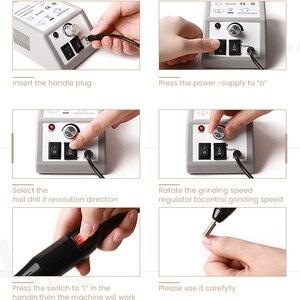 Image 3 - Professionelle Elektrische Nagel Bohren Maniküre Maschine mit Bohrer 6 Bits Pediküre nail art stift Datei Maniküre polieren werkzeug grinder