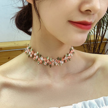 Sweet Leaf Flower Choker Necklace For Women 2020 Spring Summer New Fashion Jewelry Boho Lace Collares lace choker necklace set