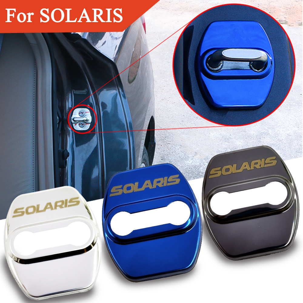 FLYJ 4PCS Car Door Lock Buckle Cover Car Accessories Interior Door Lock Cover Protector Buckle For Hyundai SOLARIS Car Sticker