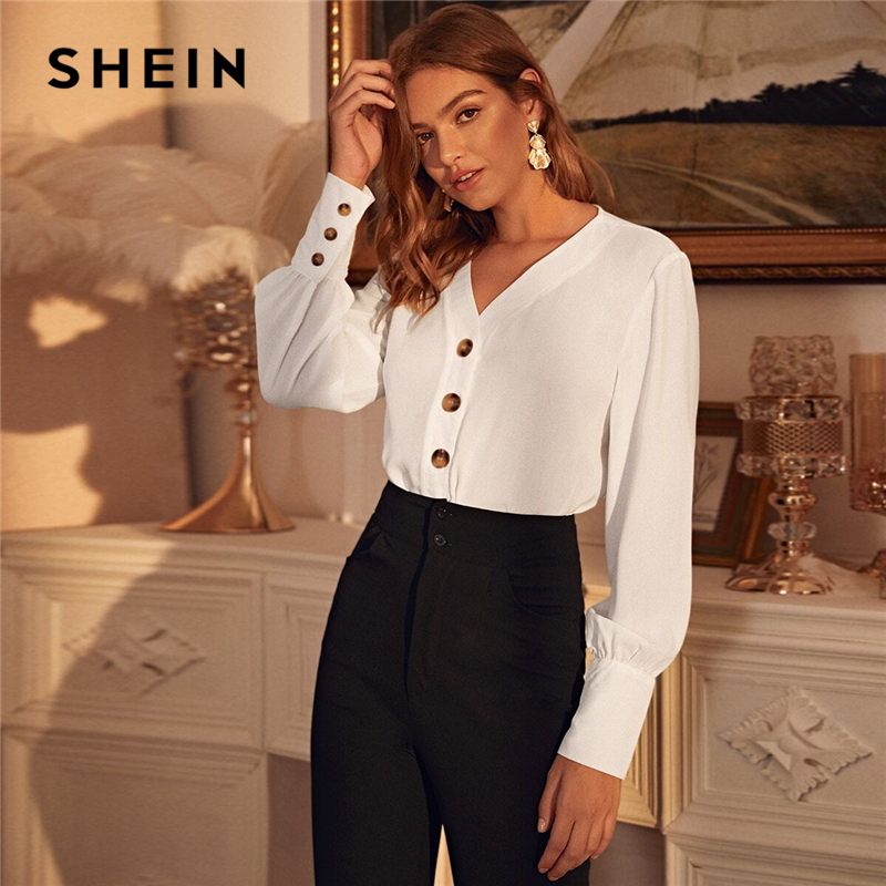SHEIN White Solid Bishop Long Sleeve Button Front Blouse Women Tops Office Lady Spring V-Neck Elegant Chiffon Shirt Blouses