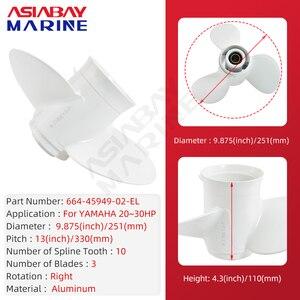 Image 2 - Buitenboordmotor Propeller Voor Yamaha 20hp 25hp 30hp 9 7/8*13 Boot Motor Aluminium Schroef 3 Blade 10 Spline scheepsmotor Deel