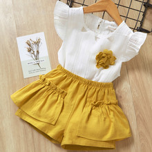 Children Clothing T-Shirt Shorts Flare-Sleeve White Baby-Girls 5-6-Years for Kids And