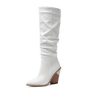Image 2 - MORAZORA 2020 Hot marque genou bottes hautes femmes bout pointu épais talons hauts automne hiver bottes couleurs solides robe chaussures femme