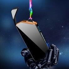 Novo fresco duplo arco plasma mais leve fingerprint laser lnduction ignição usb recarregável portátil à prova de vento isqueiros gadgets