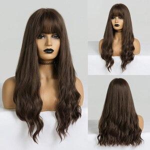 Image 5 - EASIHAIR pelucas onduladas de pelo largo para mujeres negras postizo de pelo largo marrón con flequillo sintético sin pegamento, Peluca de pelo Natural de alta temperatura para Cosplay