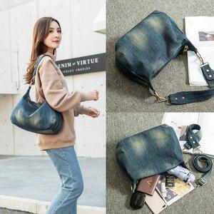 Image 3 - Rdywbu Washed Denim Women Shoulder Bag Casual Vintage Jeans High Quality Big Crossbody Bag Large Tote Handbag Mochila Bolsa B225