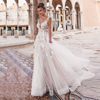 Eightale Boho Wedding Dresses Lace A Line Beach Wedding Gowns Appliques Tulle Buttons Princess Sexy Bride Dress Free Shipping