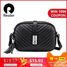 Realer, женская сумка, сумки через плечо для женщин, 2019, полосатые сумки через плечо с клапаном, женская маленькая черная квадратная сумка из искусственной кожи с кисточкой
