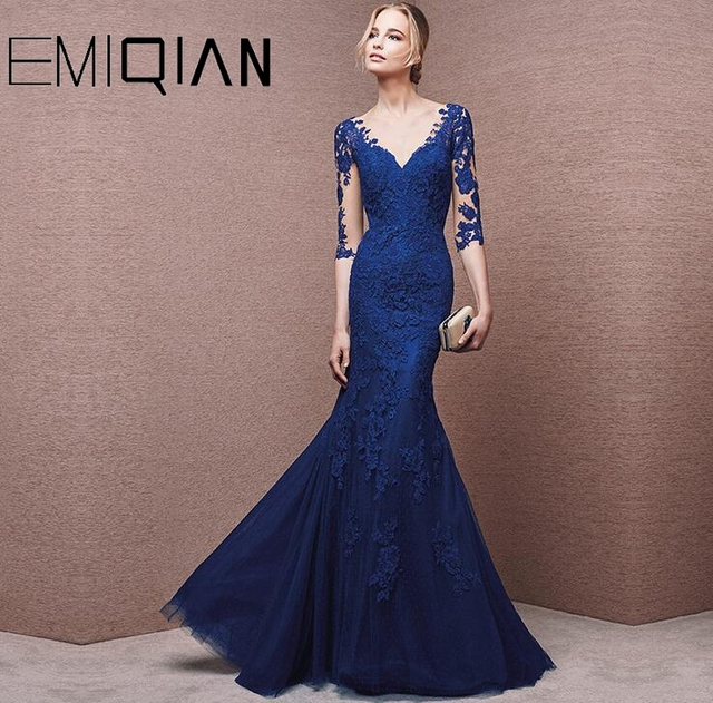 Mother Of The Bride Dresses Mermaid Half Sleeves Tulle Appliques Long Wedding Party Dresses Mother Dresses For Wedding 2