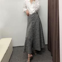 Women Tweed Skirt High Waist A-Line Long Autumn Vintage Split Houndstooth Skirts