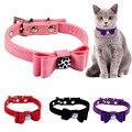 Bowknot charme e bell cat collar segurança elástica ajustável com material de veludo macio 4 cores pet produto pequeno cão colar